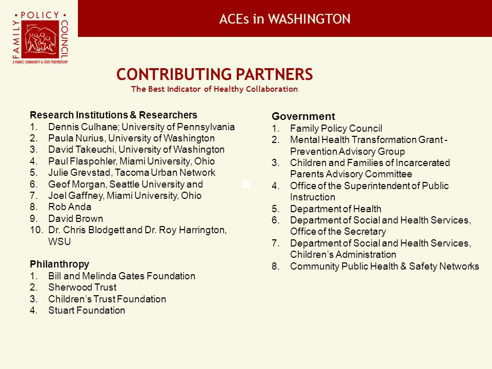 ACEs in WASHINGTON CONTRIBUTING PARTNERS The Best Indicator of Healthy Collaboration Government 1.Family Policy Council 2.Mental Health Transformation