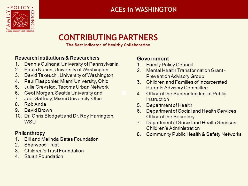 ACEs in WASHINGTON Will Help Washingtonians: 1.