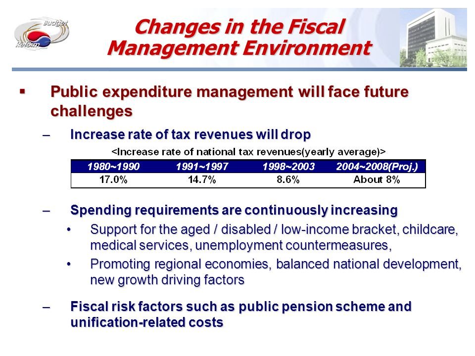 Top-down Budgeting System Budget Requests ( by line items) Budget Requests ( by line items) Budget Formulation (line item-oriented) Budget Formulation (line item-oriented) Y+1Y+1 NFMP  Total Ceiling  Sectoral Ceilings  Total Ceiling  Sectoral Ceilings Budget Formulation Within Ceilings Budget Formulation Within Ceilings Consultation and Review Consultation and Review Y+1Y+1 Y+5Y+5  A new strategic resource allocation method Line Ministries MPB Cabinet Meeting Line Ministries MPB PresentPresent PastPast