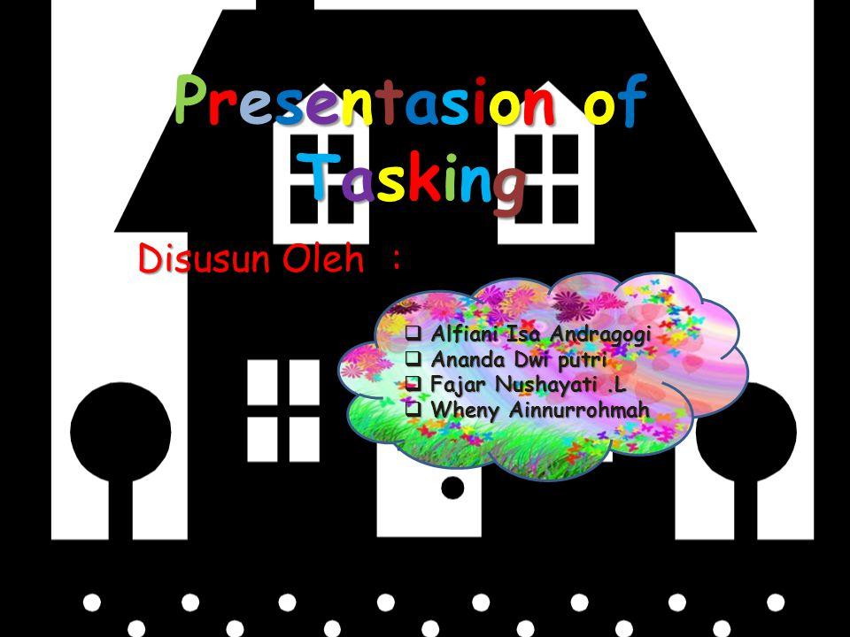 Presentasion ofTaskingPresentasion ofTaskingPresentasion ofTaskingPresentasion ofTasking Disusun Oleh:  Alfiani Isa Andragogi  Ananda Dwi putri  Fa