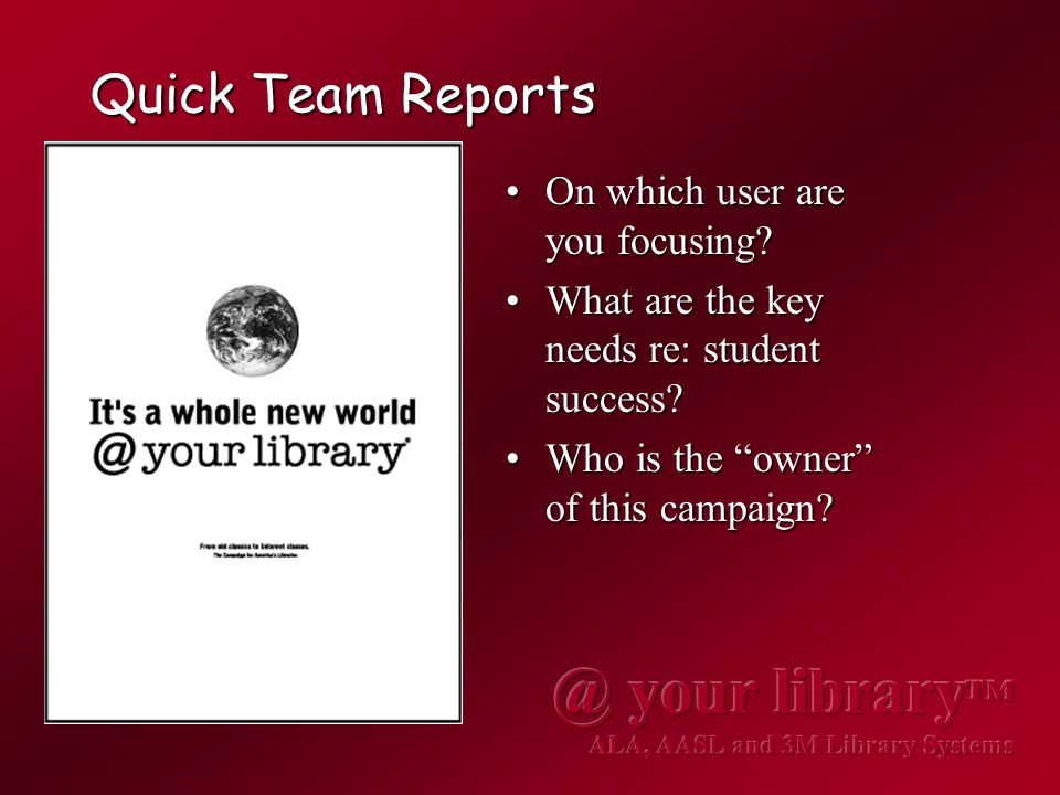 Quick Team Reports On which user are you focusing?On which user are you focusing.