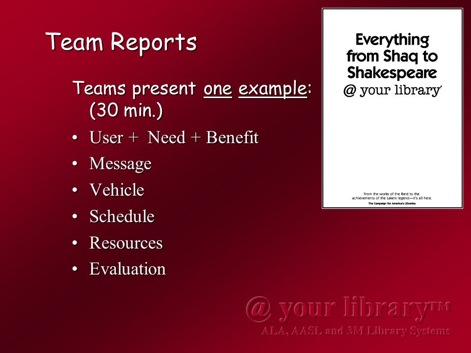 Team Reports Teams present one example: (30 min.) User + Need + BenefitUser + Need + Benefit MessageMessage VehicleVehicle ScheduleSchedule ResourcesResources EvaluationEvaluation