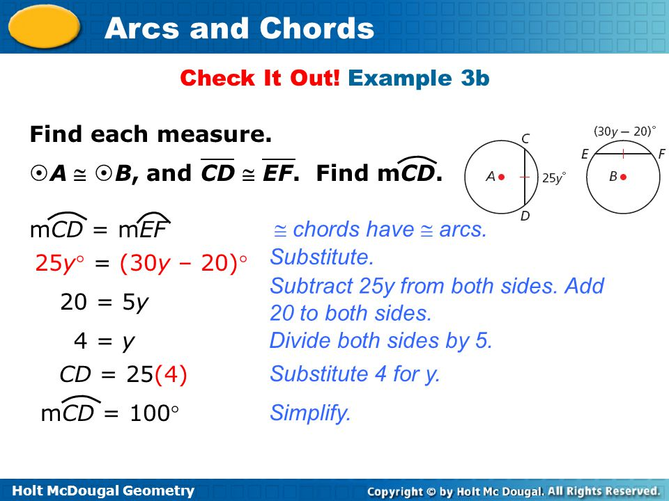 Holt McDougal Geometry Arcs and Chords Check It Out.