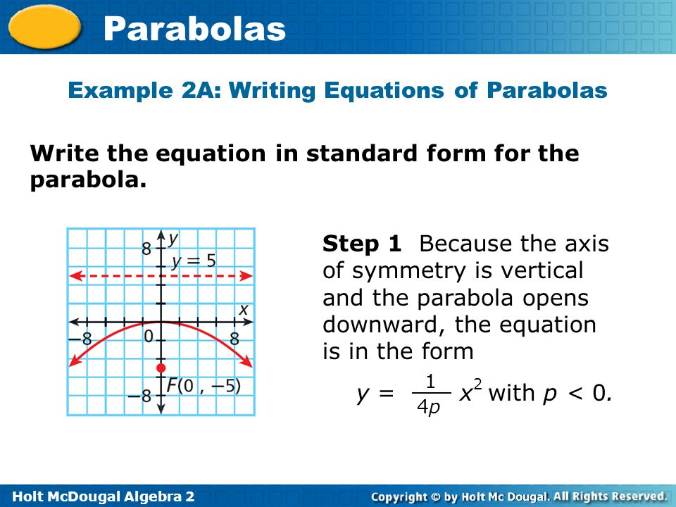 Holt McDougal Algebra 2 Parabolas Write the equation in standard form for the parabola. Example 2A: Writing Equations of Parabolas Step 1 Because the