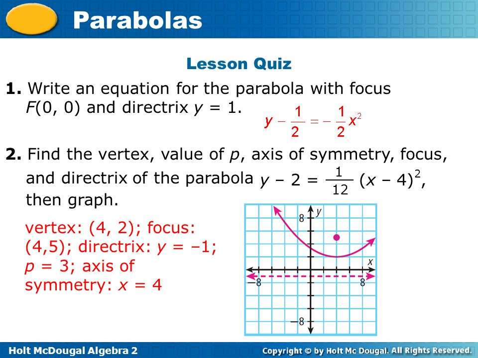 Holt McDougal Algebra 2 Parabolas Lesson Quiz 1. Write an equation for the parabola with focus F(0, 0) and directrix y = 1. 2. Find the vertex, value