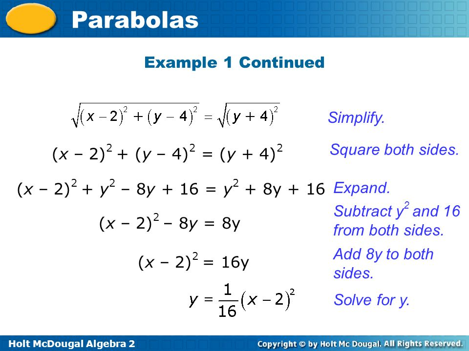 Holt McDougal Algebra 2 Parabolas Example 1 Continued (x – 2) 2 + (y – 4) 2 = (y + 4) 2 Square both sides. Expand. Subtract y 2 and 16 from both sides