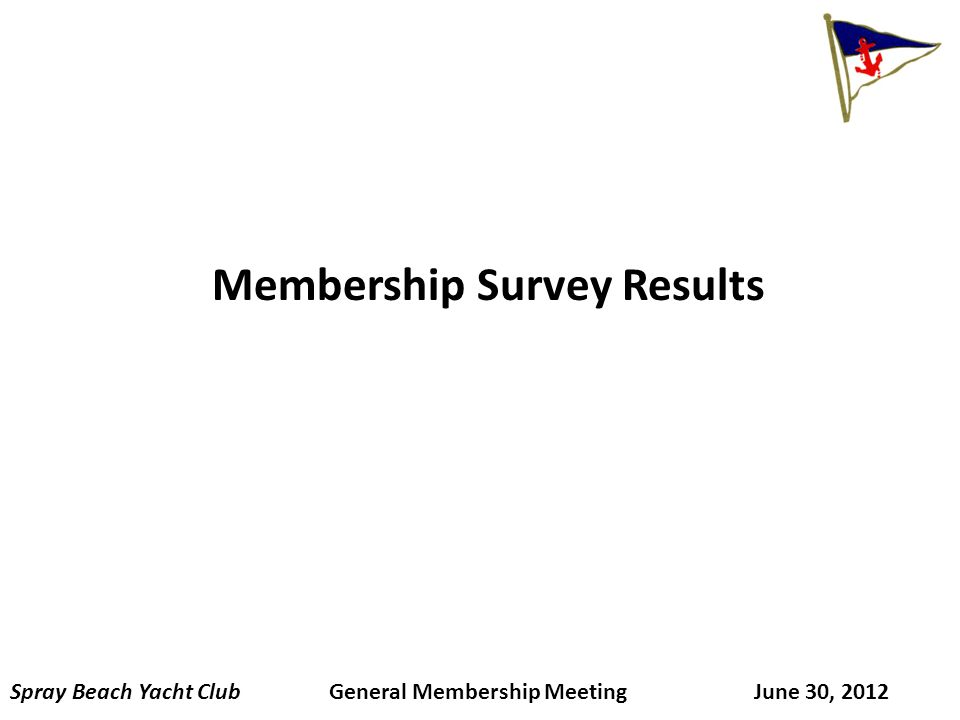 Membership Survey Results Spray Beach Yacht Club General Membership Meeting June 30, 2012