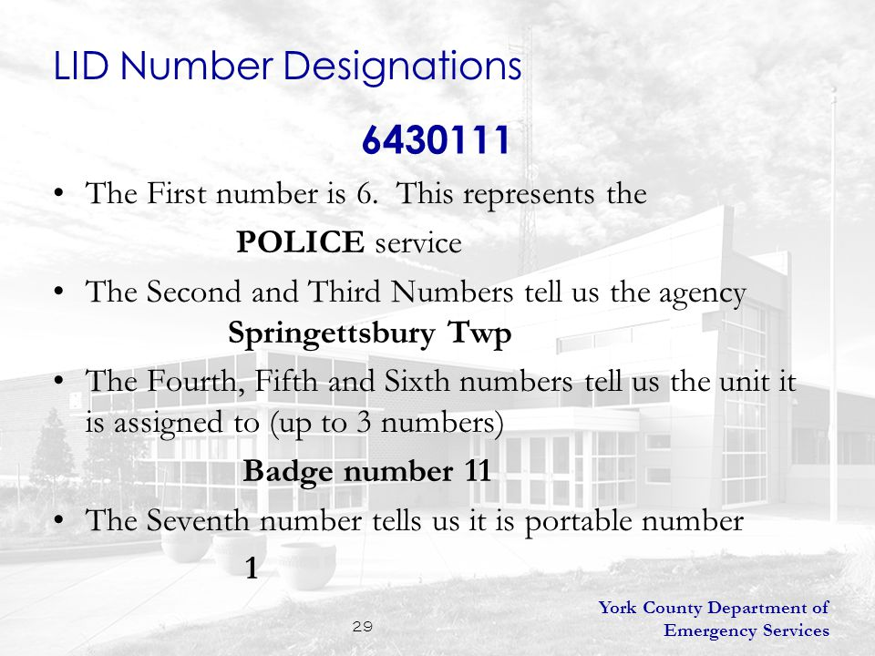 York County Department of Emergency Services 29 6430111 The First number is 6.