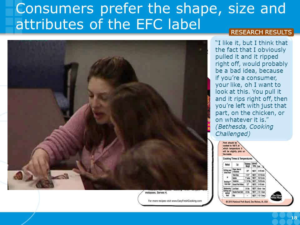 Consumers prefer the shape, size and attributes of the EFC label Corner position = easy to see more of the meat Content must fit the corner The adhesive hinge is preferred 18 RESEARCH RESULTS I like it, but I think that the fact that I obviously pulled it and it ripped right off, would probably be a bad idea, because if you're a consumer, your like, oh I want to look at this.
