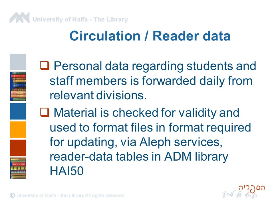Circulation / Reader data  Personal data regarding students and staff members is forwarded daily from relevant divisions.  Material is checked for v