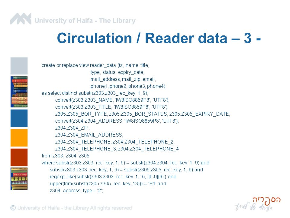 Circulation / Reader data – 3 - create or replace view reader_data (tz, name, title, type, status, expiry_date, mail_address, mail_zip, email, phone1, phone2, phone3, phone4) as select distinct substr(z303.z303_rec_key, 1, 9), convert(z303.Z303_NAME, IW8ISO8859P8 , UTF8 ), convert(z303.Z303_TITLE, IW8ISO8859P8 , UTF8 ), z305.Z305_BOR_TYPE, z305.Z305_BOR_STATUS, z305.Z305_EXPIRY_DATE, convert(z304.Z304_ADDRESS, IW8ISO8859P8 , UTF8 ), z304.Z304_ZIP, z304.Z304_EMAIL_ADDRESS, z304.Z304_TELEPHONE, z304.Z304_TELEPHONE_2, z304.Z304_TELEPHONE_3, z304.Z304_TELEPHONE_4 from z303, z304, z305 where substr(z303.z303_rec_key, 1, 9) = substr(z304.z304_rec_key, 1, 9) and substr(z303.z303_rec_key, 1, 9) = substr(z305.z305_rec_key, 1, 9) and regexp_like(substr(z303.z303_rec_key, 1, 9), [0-9]{9} ) and upper(trim(substr(z305.z305_rec_key, 13))) = H1 and z304_address_type = 2 ;