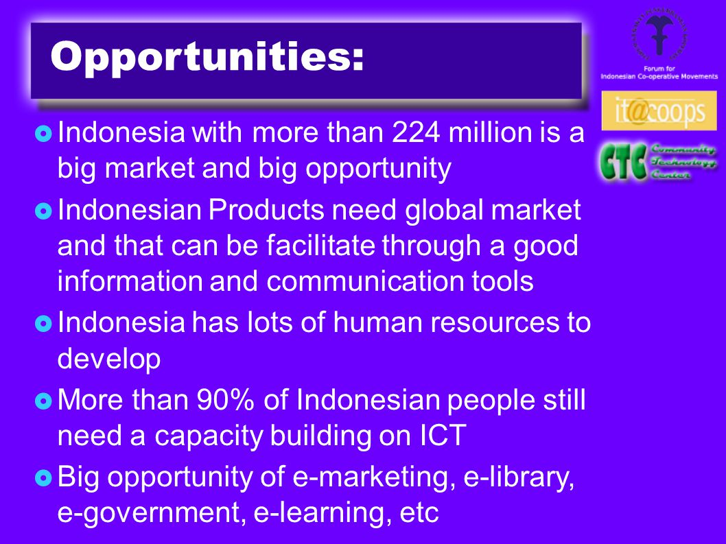 Opportunities:  Indonesia with more than 224 million is a big market and big opportunity  Indonesian Products need global market and that can be facilitate through a good information and communication tools  Indonesia has lots of human resources to develop  More than 90% of Indonesian people still need a capacity building on ICT  Big opportunity of e-marketing, e-library, e-government, e-learning, etc