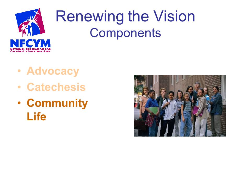 Renewing the Vision Components Advocacy Catechesis Community Life