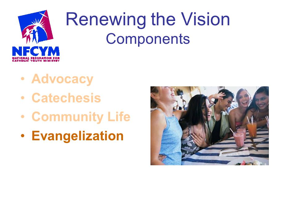 Renewing the Vision Components Advocacy Catechesis Community Life Evangelization