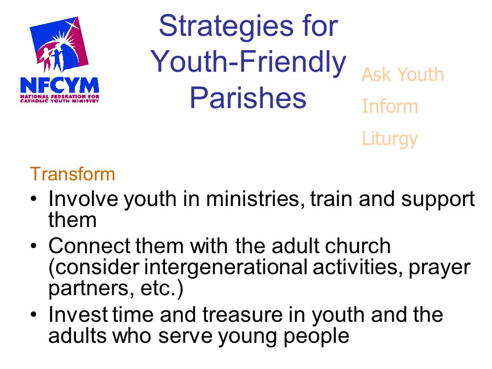 Strategies for Youth-Friendly Parishes Transform Involve youth in ministries, train and support them Connect them with the adult church (consider inte
