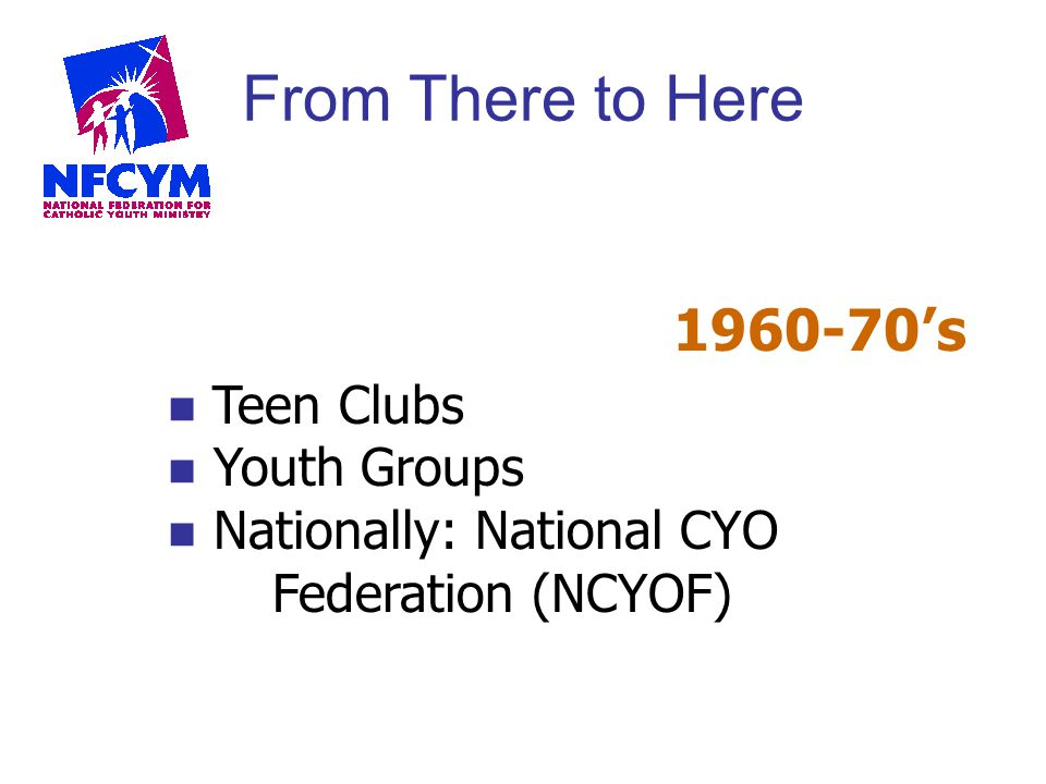 From There to Here 1960-70's Teen Clubs Youth Groups Nationally: National CYO Federation (NCYOF)