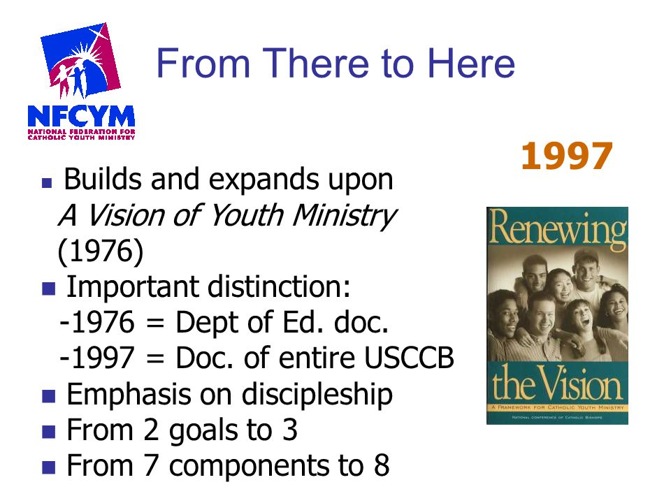 From There to Here 1997 Builds and expands upon A Vision of Youth Ministry (1976) Important distinction: -1976 = Dept of Ed. doc. -1997 = Doc. of enti