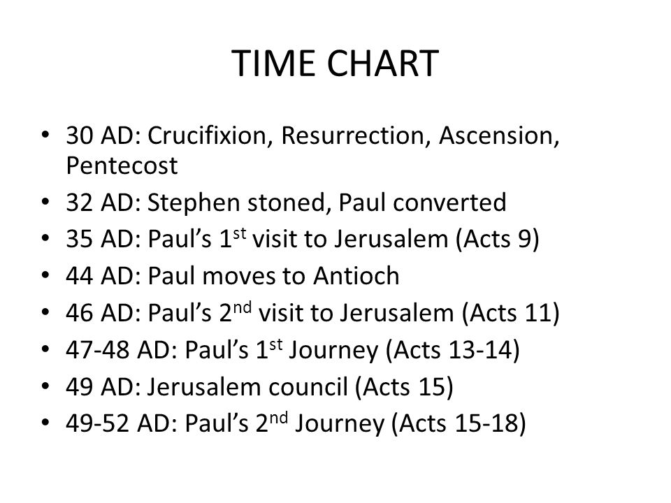 TIME CHART 30 AD: Crucifixion, Resurrection, Ascension, Pentecost 32 AD: Stephen stoned, Paul converted 35 AD: Paul's 1 st visit to Jerusalem (Acts 9) 44 AD: Paul moves to Antioch 46 AD: Paul's 2 nd visit to Jerusalem (Acts 11) AD: Paul's 1 st Journey (Acts 13-14) 49 AD: Jerusalem council (Acts 15) AD: Paul's 2 nd Journey (Acts 15-18)