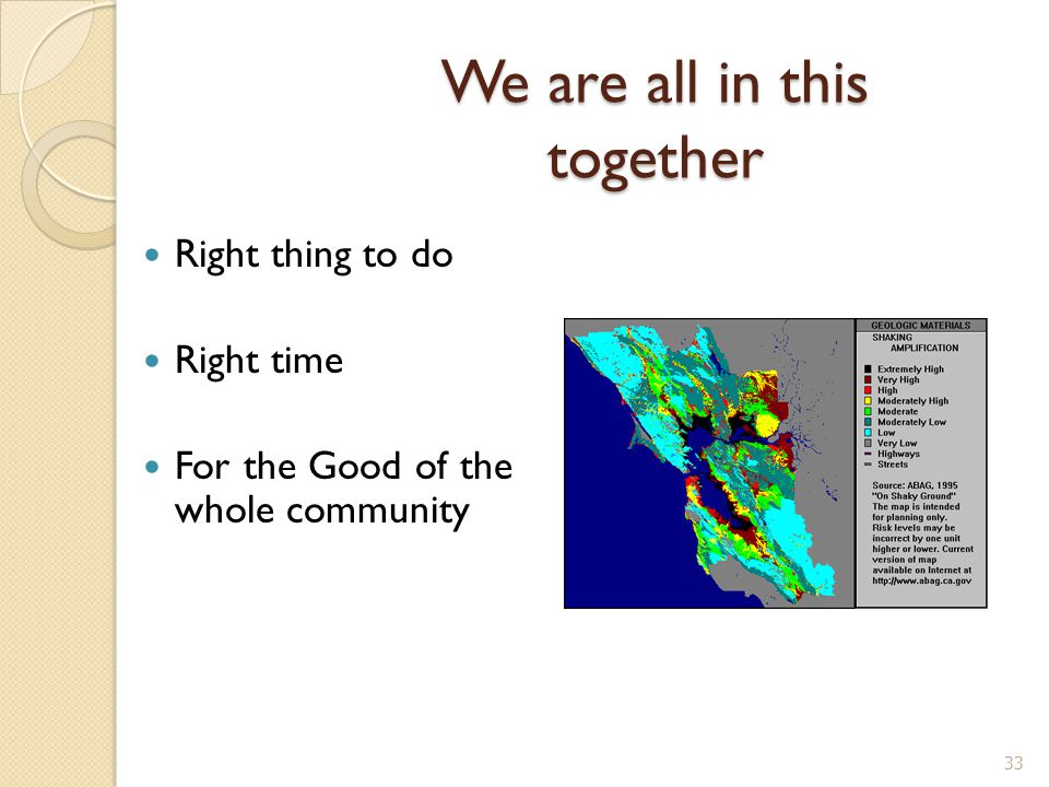 We are all in this together Right thing to do Right time For the Good of the whole community 33