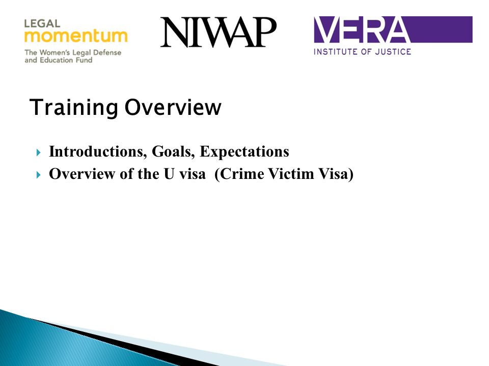  Introductions, Goals, Expectations  Overview of the U visa (Crime Victim Visa) Training Overview