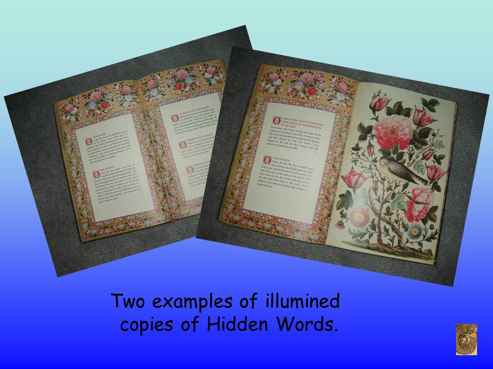 Two examples of illumined copies of Hidden Words.