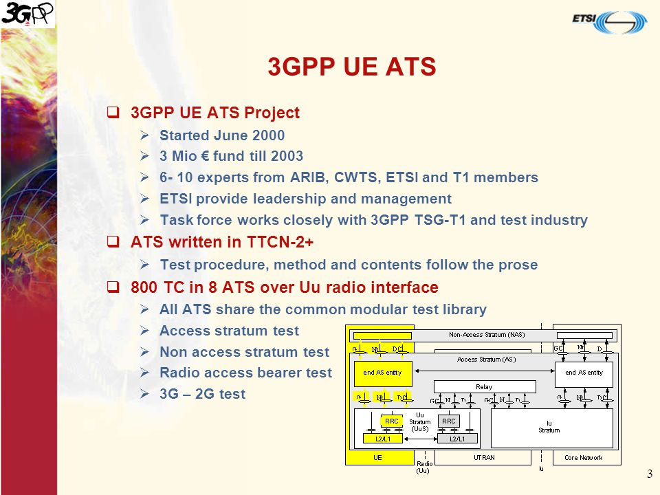 3 3GPP UE ATS  3GPP UE ATS Project  Started June 2000  3 Mio € fund till 2003  experts from ARIB, CWTS, ETSI and T1 members  ETSI provide leadership and management  Task force works closely with 3GPP TSG-T1 and test industry  ATS written in TTCN-2+  Test procedure, method and contents follow the prose  800 TC in 8 ATS over Uu radio interface  All ATS share the common modular test library  Access stratum test  Non access stratum test  Radio access bearer test  3G – 2G test