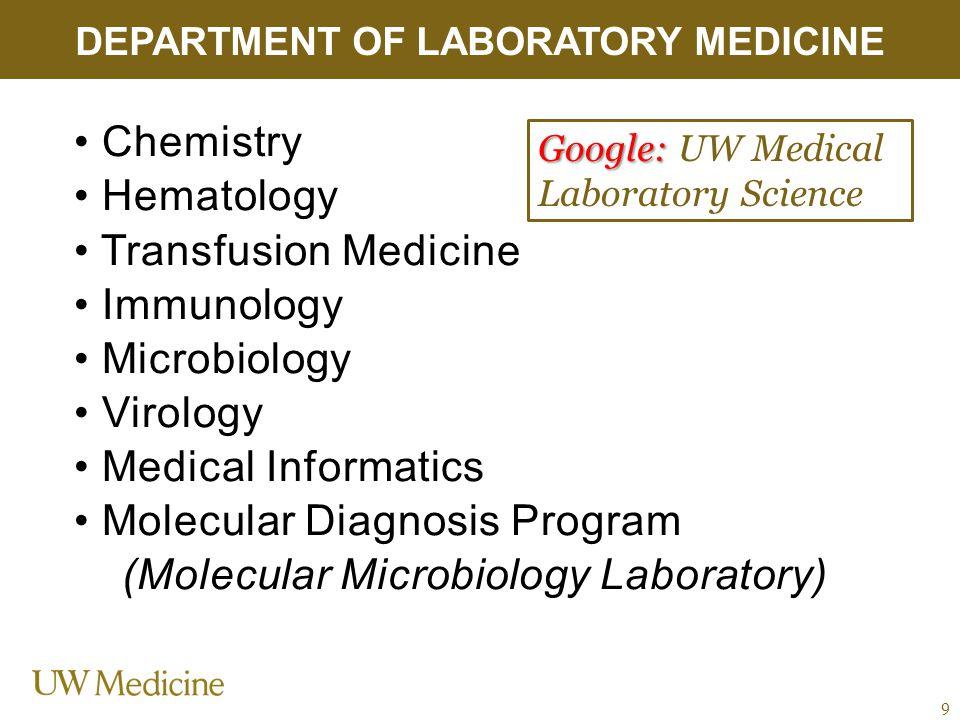 Chemistry Hematology Transfusion Medicine Immunology Microbiology Virology Medical Informatics Molecular Diagnosis Program (Molecular Microbiology Lab