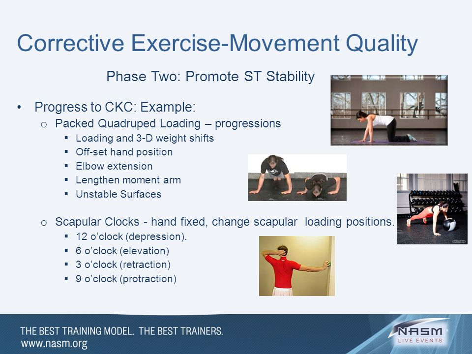 Corrective Exercise-Movement Quality Phase Two: Promote ST Stability Progress to CKC: Example: o Packed Quadruped Loading – progressions  Loading and