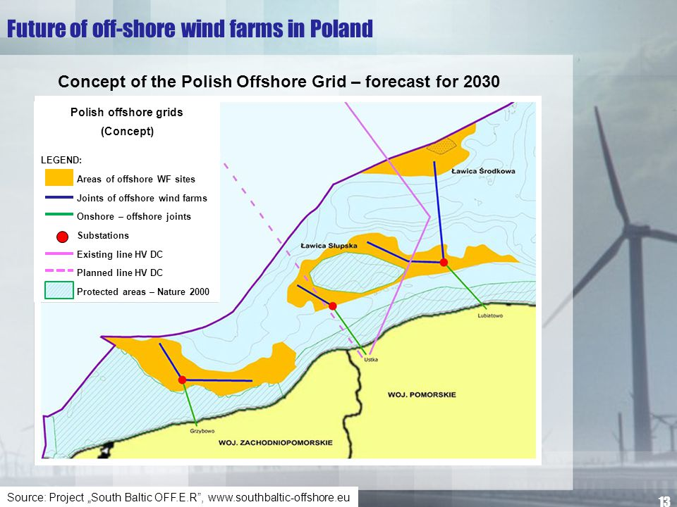 "Future of off-shore wind farms in Poland Source: Project ""South Baltic OFF.E.R"", www.southbaltic-offshore.eu Concept of the Polish Offshore Grid – for"