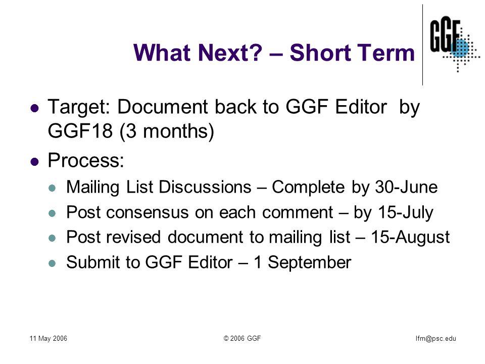 lfm@psc.edu11 May 2006© 2006 GGF What Next.