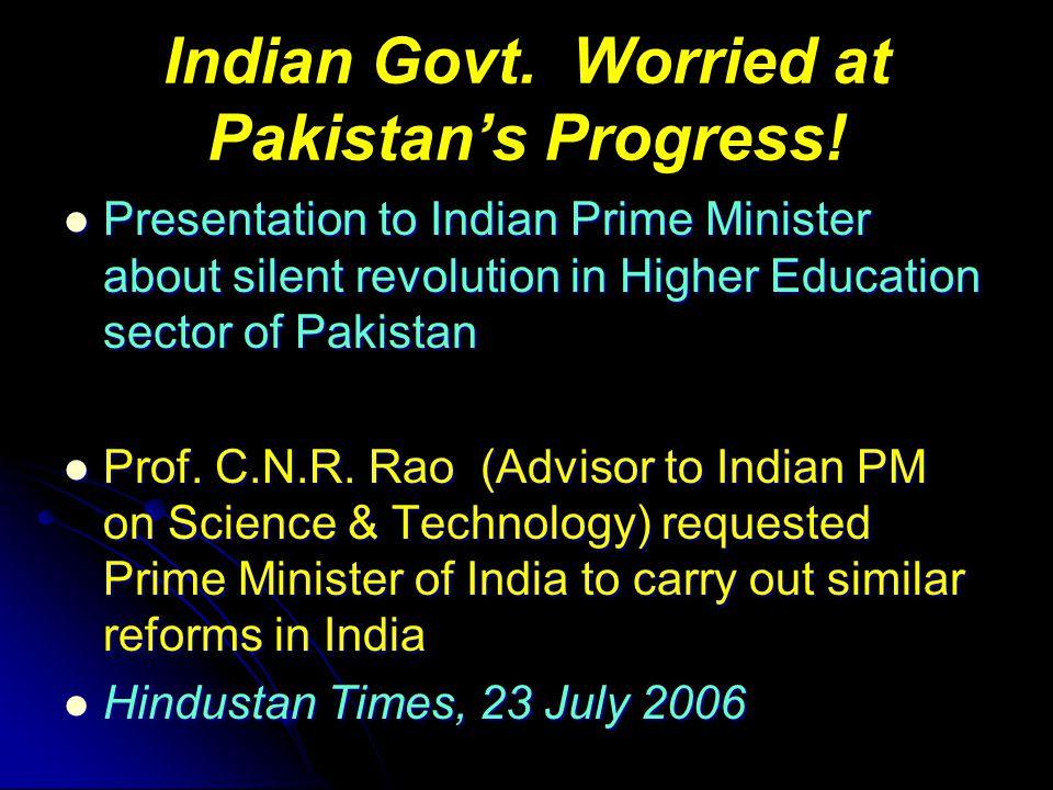 Indian Govt. Worried at Pakistan's Progress.
