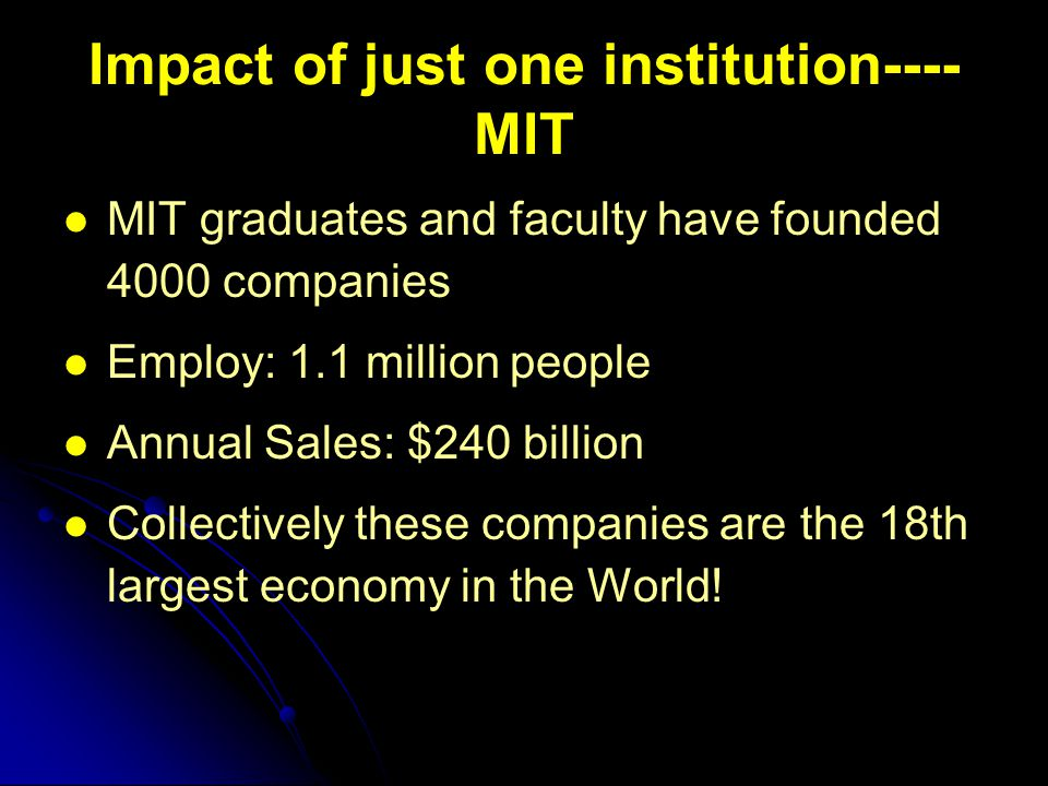 Impact of just one institution---- MIT MIT graduates and faculty have founded 4000 companies Employ: 1.1 million people Annual Sales: $240 billion Collectively these companies are the 18th largest economy in the World!