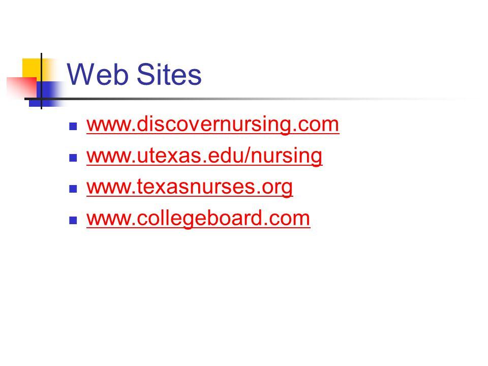 Web Sites www.discovernursing.com www.utexas.edu/nursing www.texasnurses.org www.collegeboard.com