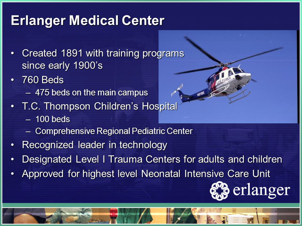 Erlanger Medical Center Created 1891 with training programs since early 1900'sCreated 1891 with training programs since early 1900's 760 Beds760 Beds –475 beds on the main campus T.C.