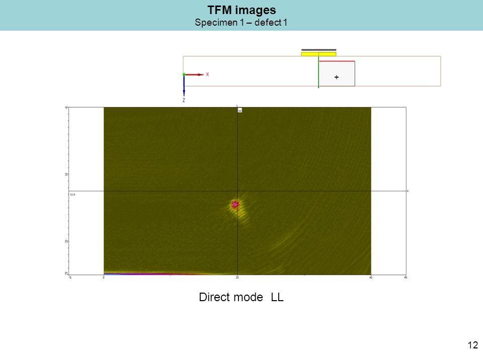 TFM images Specimen 1 – defect 1 12 Direct mode LL