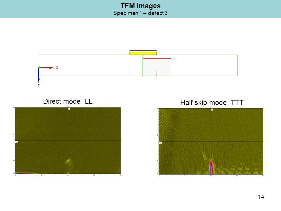 14 TFM images Specimen 1 – defect 3 Half skip mode TTT Direct mode LL