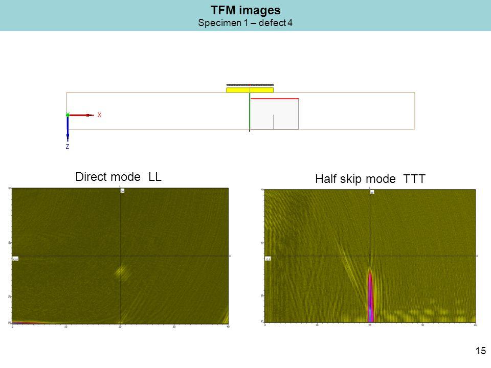 TFM images Specimen 1 – defect 4 15 Half skip mode TTT Direct mode LL