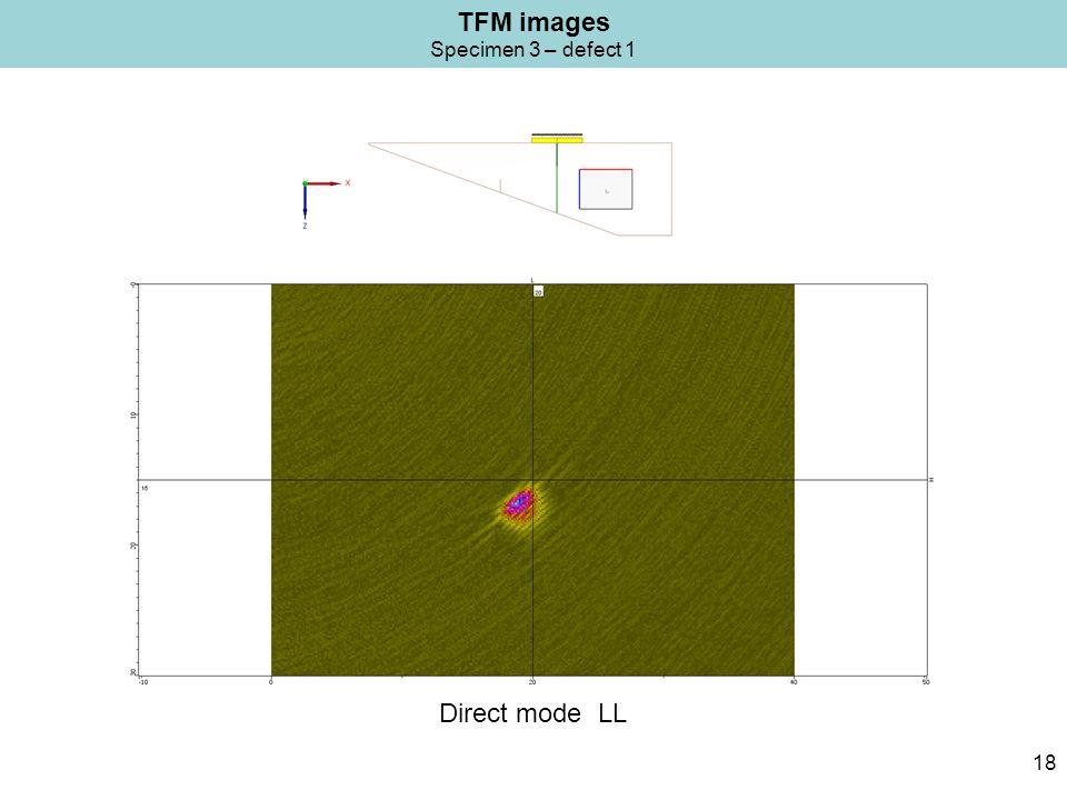 TFM images Specimen 3 – defect 1 18 Direct mode LL