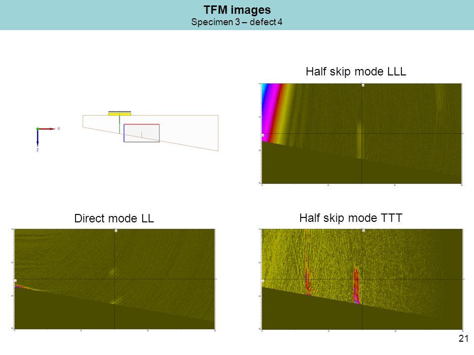 TFM images Specimen 3 – defect 4 21 Half skip mode TTT Direct mode LL Half skip mode LLL