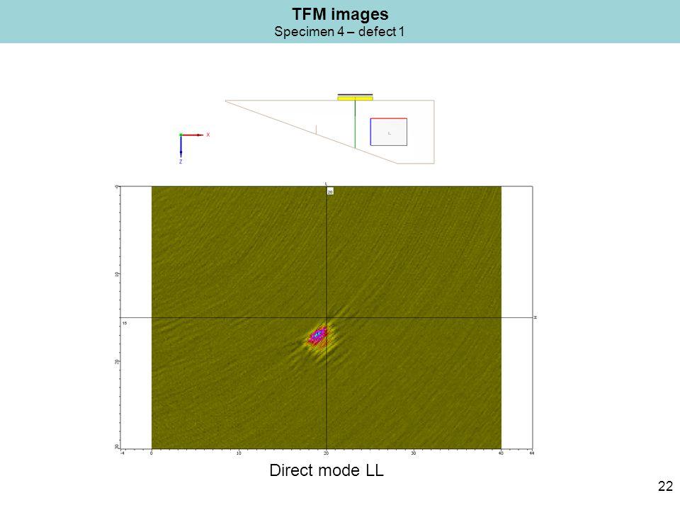 TFM images Specimen 4 – defect 1 22 Direct mode LL