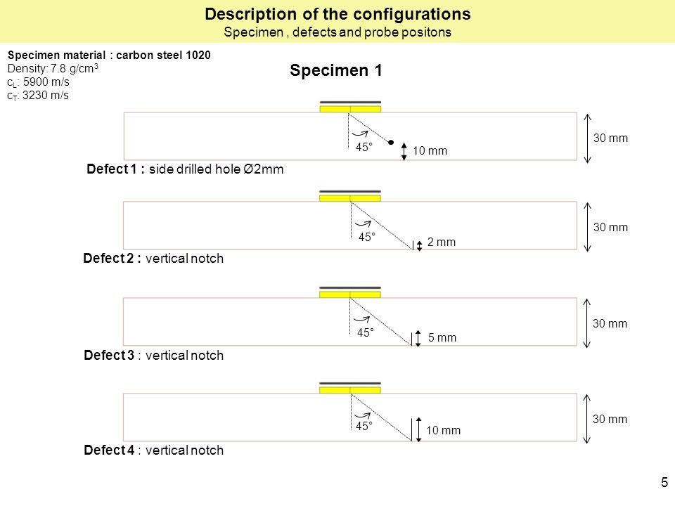 Specimen 1 Description of the configurations Specimen, defects and probe positons 10 mm Defect 1 Defect 3 Defect 4 30 mm 2 mm 30 mm 5 mm 30 mm 10 mm D