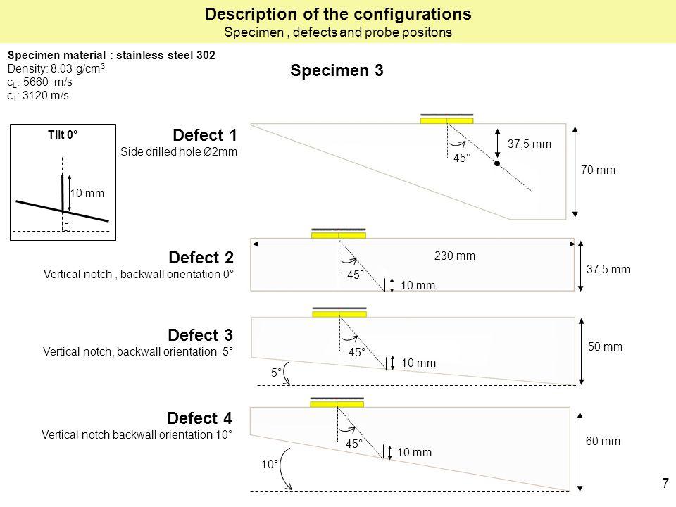 10 mm Defect 2 Vertical notch, backwall orientation 0° 45° 50 mm 10 mm 45° 70 mm 37,5 mm Defect 1 Side drilled hole Ø2mm Defect 3 Vertical notch, backwall orientation 5° Defect 4 Vertical notch backwall orientation 10° 60 mm 10 mm 45° 37,5 mm 10 mm 45° 5° 10° Tilt 0° 7 Specimen material : stainless steel 302 Density: 8.03 g/cm 3 c L : 5660 m/s c T : 3120 m/s Specimen 3 Description of the configurations Specimen, defects and probe positons 10 mm 230 mm