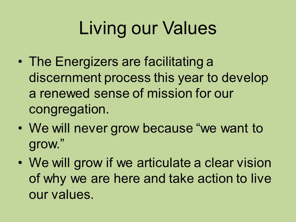 Living our Values The Energizers are facilitating a discernment process this year to develop a renewed sense of mission for our congregation.