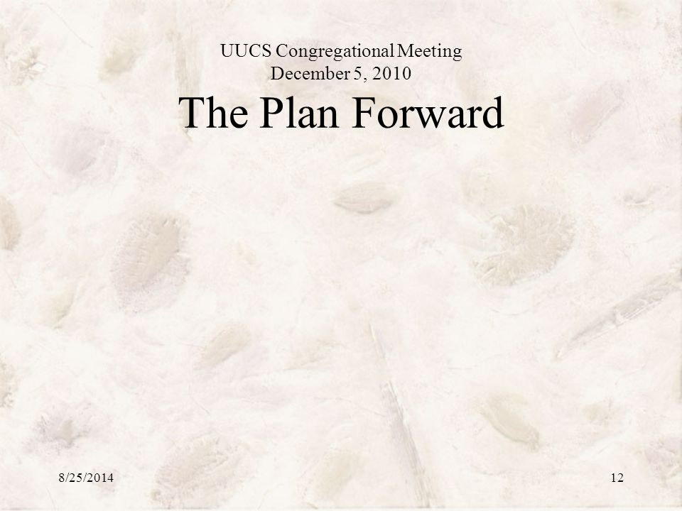 UUCS Congregational Meeting December 5, 2010 The Plan Forward 8/25/201412
