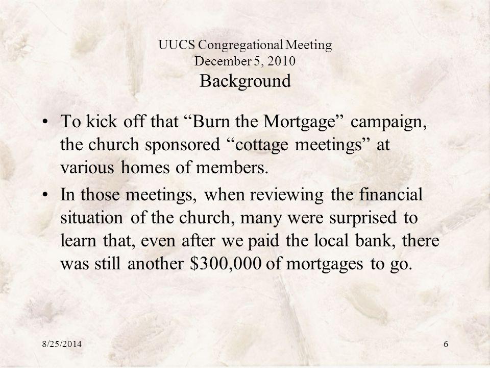 UUCS Congregational Meeting December 5, 2010 The Plan Forward Questions? 8/25/201427