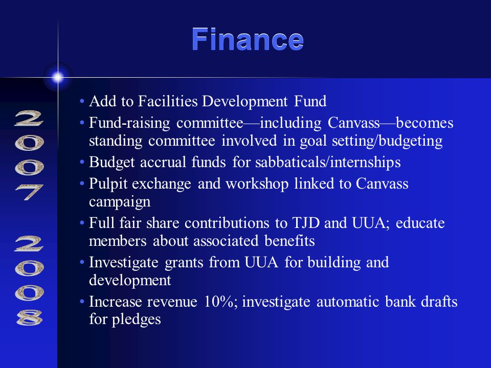 Finance Add to Facilities Development Fund Fund-raising committee—including Canvass—becomes standing committee involved in goal setting/budgeting Budget accrual funds for sabbaticals/internships Pulpit exchange and workshop linked to Canvass campaign Full fair share contributions to TJD and UUA; educate members about associated benefits Investigate grants from UUA for building and development Increase revenue 10%; investigate automatic bank drafts for pledges