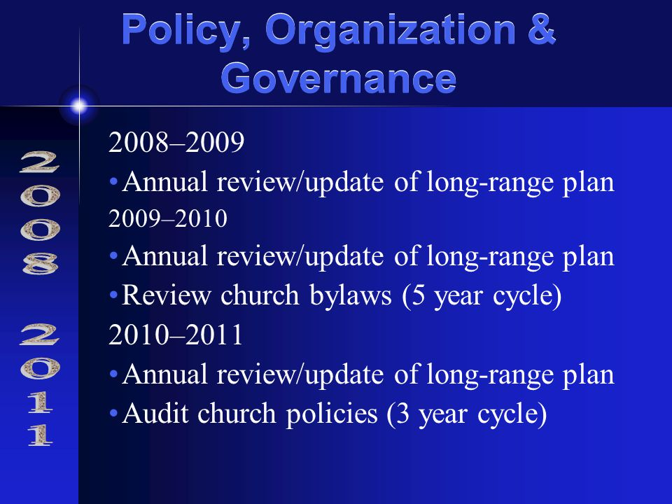 Policy, Organization & Governance 2008–2009 Annual review/update of long-range plan 2009–2010 Annual review/update of long-range plan Review church bylaws (5 year cycle) 2010–2011 Annual review/update of long-range plan Audit church policies (3 year cycle)