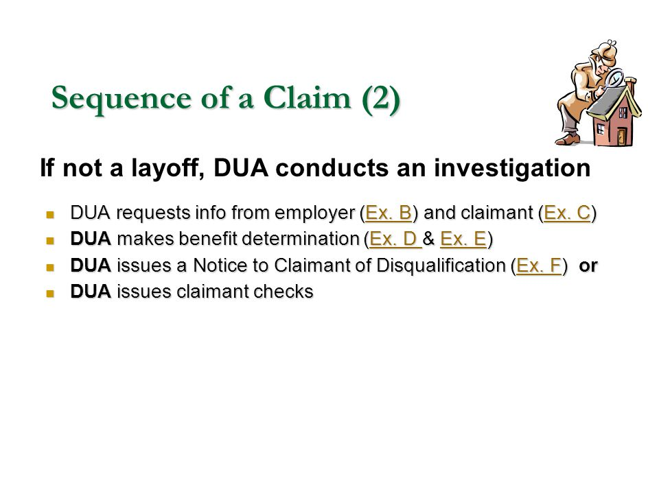 Sequence of a Claim (2) DUA requests info from employer (Ex. B) and claimant (Ex. C) DUA requests info from employer (Ex. B) and claimant (Ex. C)Ex. B