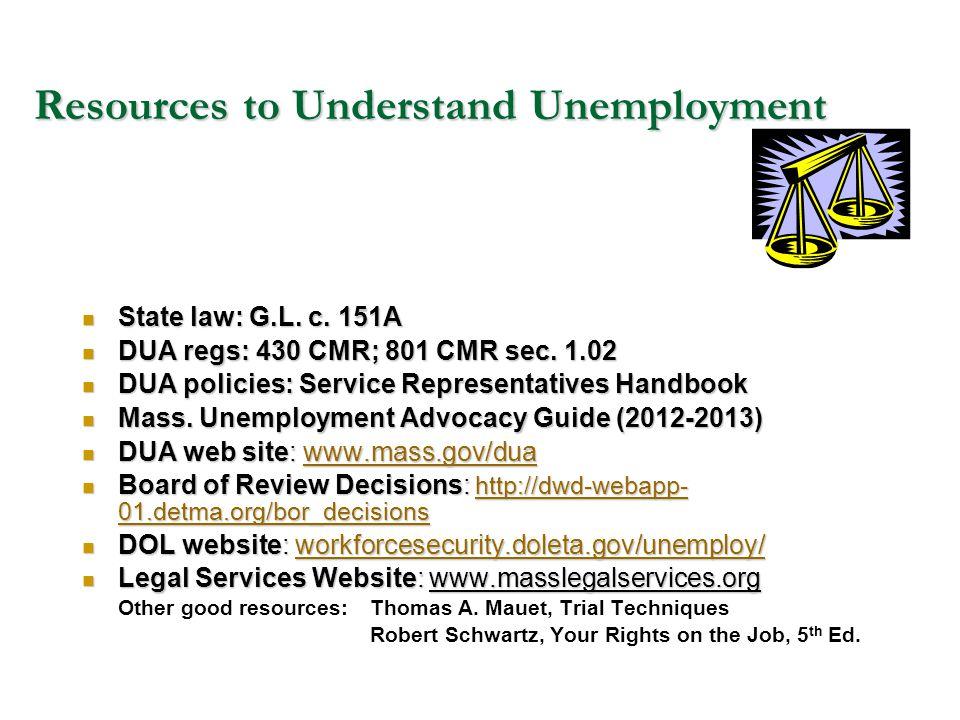 Resources to Understand Unemployment State law: G.L. c. 151A State law: G.L. c. 151A DUA regs: 430 CMR; 801 CMR sec. 1.02 DUA regs: 430 CMR; 801 CMR s