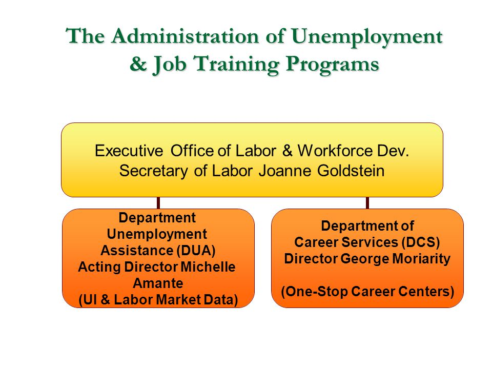The Administration of Unemployment & Job Training Programs Executive Office of Labor & Workforce Dev. Secretary of Labor Joanne Goldstein Department U